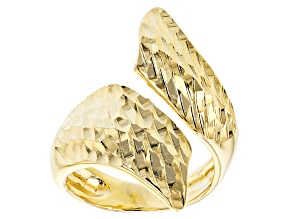 18k Yellow Gold Over Bronze Textured Bypass Ring