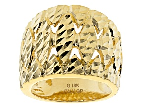Moda Al Massimo™ 18k Yellow Gold over Bronze textured wide band ring