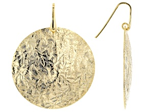 Moda Al Massimo™ 18k Yellow Gold Over Bronze Textured Disc Dangle Earrings