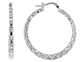 Moda Al Massimo™ 29mm Rhodium over Bronze Diamond Cut Hoop Earrings