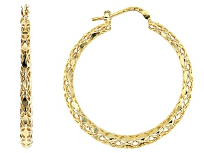 Moda Al Massimo™ 29mm 18k Yellow Gold over Bronze Diamond Cut Hoop Earrings