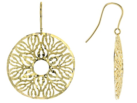 18K Yellow Gold Over Bronze Filigree Disc Dangle Earrings