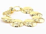 Moda Al Massimo™ 18k Yellow Gold Over Bronze Hammered Disc 8 inch Bracelet