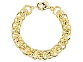 Moda Al Massimo™ 18k Yellow Gold Over Bronze Designer Cable 8 1/2 inch Bracelet