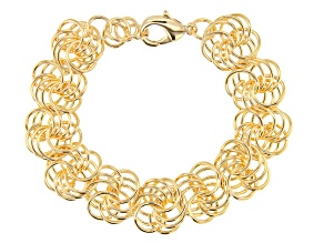 Moda Al Massimo™ 18k Yellow Gold Polished Rosetta Link 8.25 inch Bracelet