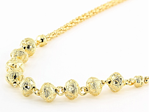 Moda Al Massimo™ 18k Yellow Gold Over Bronze Textured Bead Popcorn 22 inch Necklace