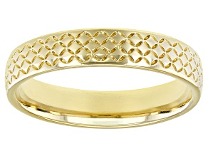 Moda Al Massimo® 18k Yellow Gold Over Bronze Comfort Fit 4MM Basket Designer Weave Band Ring