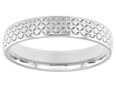 Moda Al Massimo® Rhodium Over Bronze Comfort Fit 4MM Designer Band Ring