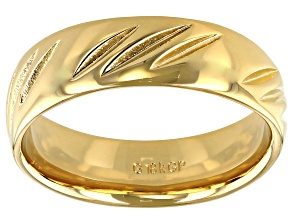 Moda Al Massimo® 18k Yellow Gold Over Bronze Comfort Fit Diamond Cut 6MM Band Ring