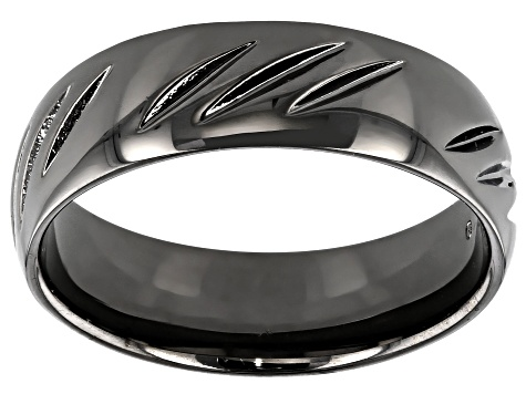 Moda Al Massimo Gunmetal Rhodium Over Bronze Diamond Cut Comfort Fit 6MM Band Ring