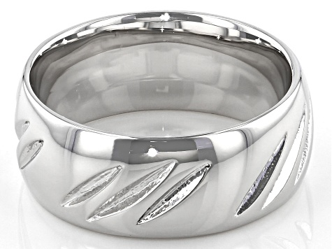 Moda Al Massimo® Rhodium Over Bronze Comfort Fit 8MM Diamond Cut Band Ring.
