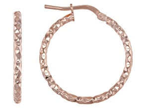 18k rose gold over bronze hoop earrings.