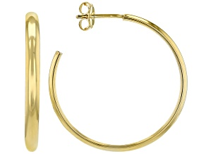 18k yellow gold over bronze open hoop earrings.