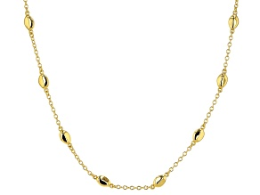 18k yellow gold over bronze station necklace.