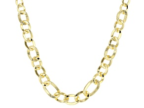 18k yellow gold over bronze graduating curb link necklace.