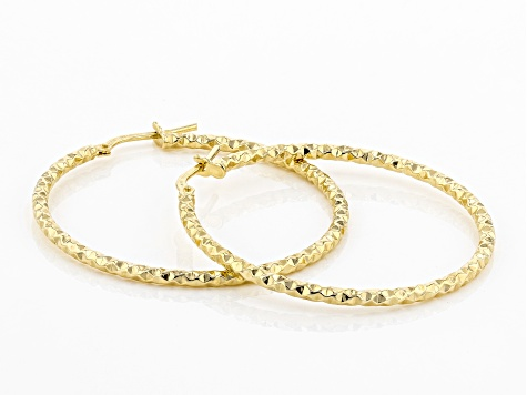 MODA AL MASSIMO™ 18K Yellow Gold Over Bronze 35MM Diamond Cut Earrings.