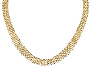 MODA AL MASSIMO™ 18K Yellow Gold Over Bronze Graduated Bismark Necklace 18