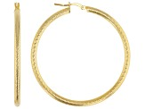 MODA AL MASSIMO™ 18K Yellow Gold Over Bronze Sandblasted Earrings 50mm