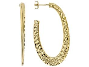 MODA AL MASSIMO™ 18K Yellow Gold Over Bronze Hammered Oval Hoop Earrings