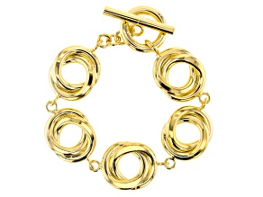 MODA AL MASSIMO™ 18K Yellow Gold Over Bronze Round Double Link With Toggle Clasp Bracelet 8.5""