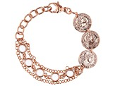 MODA AL MASSIMO™ 18K Rose Gold Over Bronze  Stationed Coin Bracelet with White Crystals 6-7.5