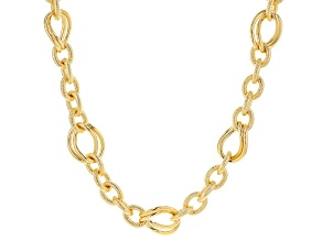 MODA AL MASSIMO™ Textured Link Necklace with Polished Double Link Stations 20
