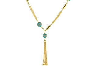 Moda Al Massimo™ 18K Yellow Gold Over Bronze Multi-strand Tassel Stationed Front Clasp Necklace 20""