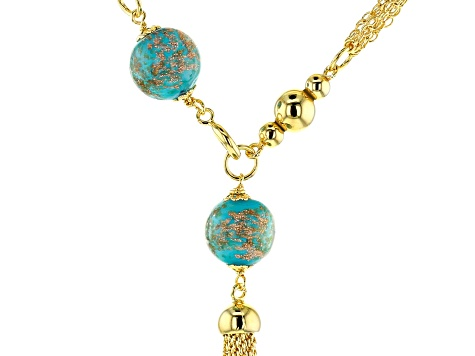 MODA AL MASSIMO™ 18K Yellow Gold Over Bronze Multi-strand Tassle Stationed Front Clasp Necklace 20