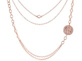 MODA AL MASSIMO™ 18K Rose Gold Over Bronze with White Crystals with Coin Pendant Necklace 30""