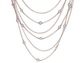 "MODA AL MASSIMO™ 18K Rose Gold Over Bronze Strand Layered Necklace Lavender Crystals 22""."