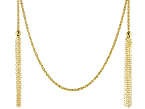 Moda Al Massimo 18K Yellow Gold Over Bronze Braided Rope Tassel Wrap Necklace 100 Inches