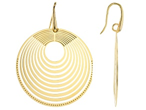Moda Al Massimo 18K Yellow Gold Over Bronze Laser Cut Multi-Layer Earrings