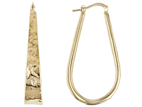 Moda Al Massimo™ Yellow Gold Over Bronze Hammered Tear Drop Hoop Earrings