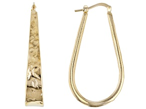 Moda Al Massimo 18k Yellow Gold Over Bronze Hammered Tear Drop Hoop Earrings