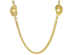 Moda Al Massimo™ 18K Yellow Gold Over Bronze Multi-Strand Chain with Diamond Cut Knot Stations 38""