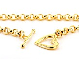 Moda Al Massimo 18K Yellow Gold Over Bronze Polished Rolo Chain Necklace 18 Inches with Heart Toggle