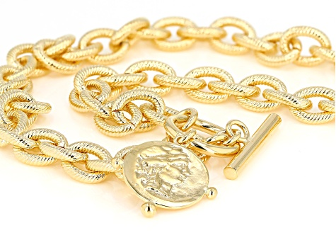Moda Al Massimo 18K Yellow Gold Over Bronze Textured Oval Chain Coin Necklace with Toggle 20 Inches