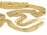 Moda Al Massimo 18K Yellow Gold Over Bronze Elegant Mesh Fringed Scarf Necklace 48 Inches