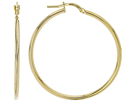MODA AL MASSIMO(TM) 18K YELLOW GOLD OVER BRONZE 35MM HIGH POLISH EARRINGS.