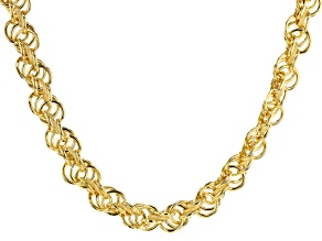 18k Yellow Gold Over Bronze Rope Mixed Texture Link Necklace 20 Inches