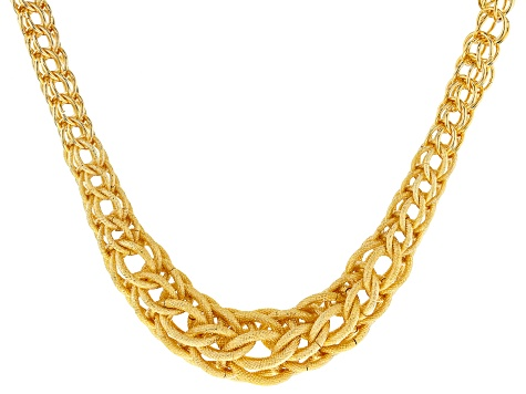 18k Yellow Gold Over Bronze Graduated Spiga Necklace 18.5 Inches