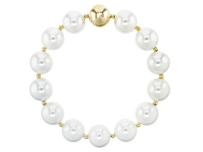 18k Yellow Gold Over Bronze Freshwater Pearl Simulant Stretch Bracelet 8 Inches