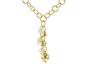 18k Yellow Gold Over Bronze Open Link White Freshwater Pearl Simulant Tassel Necklace 19 Inches