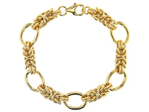 18k Yellow Gold Over Bronze Byzantine Station Bracelet 8.5 Inches