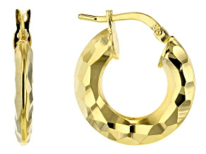 18k Yellow Gold Over Bronze Hammered Hoop Earrings