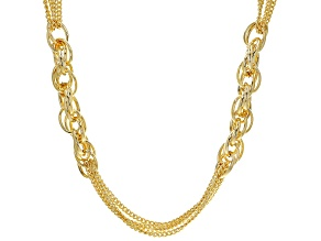 Moda Al Massimo™ 18K Yellow Gold Over Bronze Multi-Strand Chain with Side Link Stations 30""
