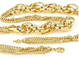 Moda Al Massimo™ 18K Yellow Gold Over Bronze Multi-Strand Chain with Side Link Stations 30