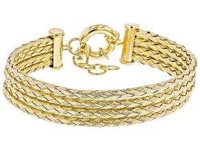 Moda Al Massimo ® 18k Yellow Gold Over Bronze Multi Row 12.16MM Woven Chain Bracelet