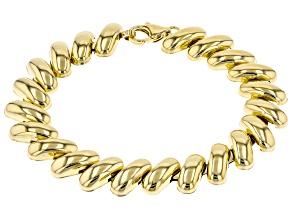 Moda Al Massimo ® 18k Yellow Gold Over Bronze 13.62MM San Marco Chain Bracelet