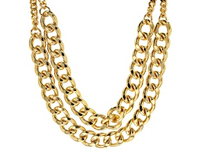 Moda Al Massimo ® 18k Yellow Gold Over Bronze Multi Row 15.25MM Curb Chain Necklace 19 inch